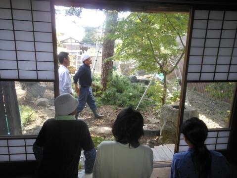 最後に座位からの庭園を見て、庭園管理のあり方を講演させていただきました。
